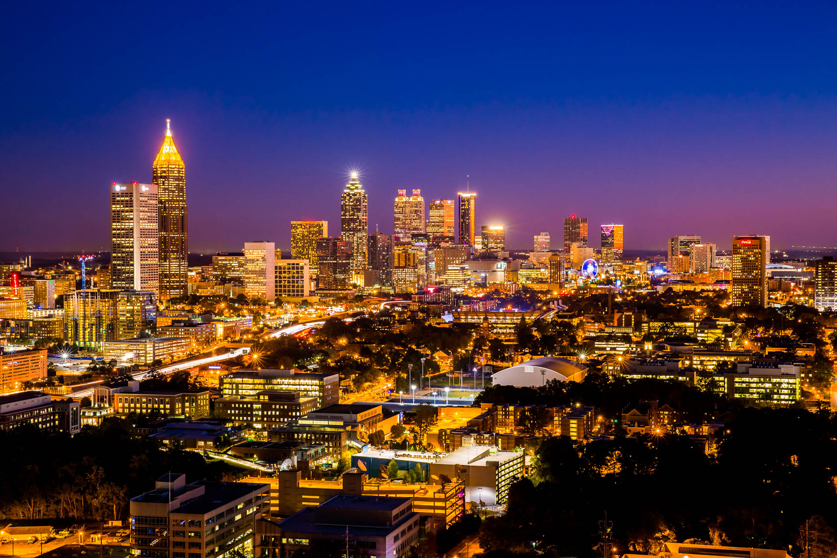 Skyline of Atlanta Buildings at Night