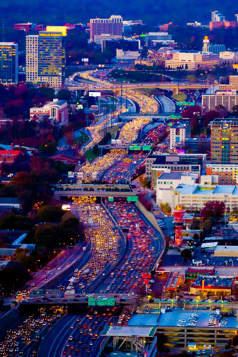 Overhead View of Atlanta Traffic