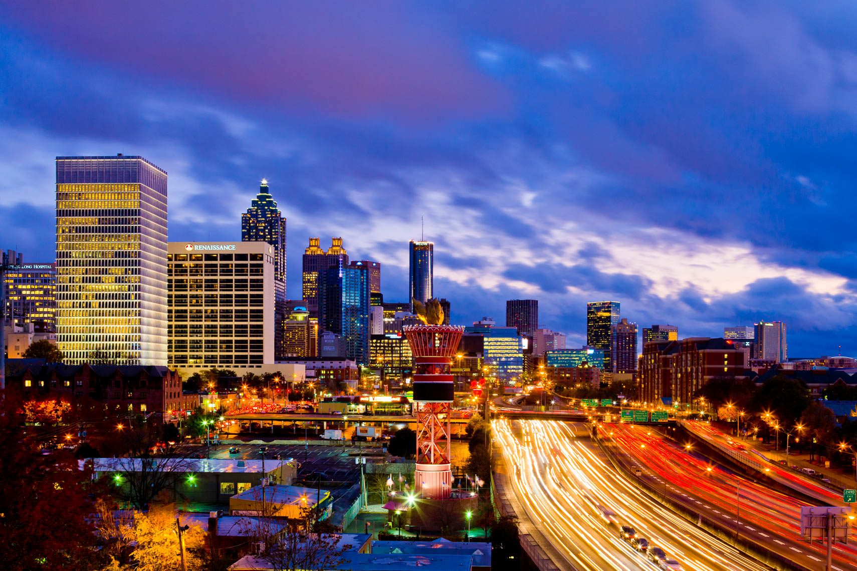 Professional Photography of Atlanta Skyline at Night
